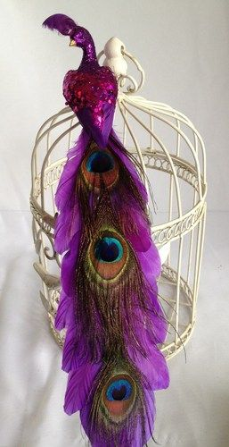 Wedding Peacock Purple Glitter Feather Bird Cake Topper