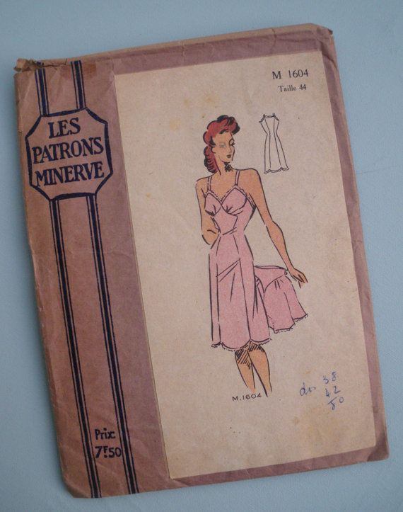 french sewing   Sewing Pattern 1940s French Lingerie Womens Slip Petticoat French ...