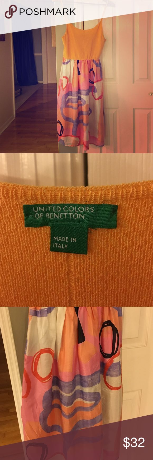 Silk United Colors of Benetton dress. Unique silk United Colors of Benetton dress with woven top and multi-color abstract print skirt. Great over a top and jeans in winter or alone in summer. Hand wash. United Colors Of Benetton Dresses