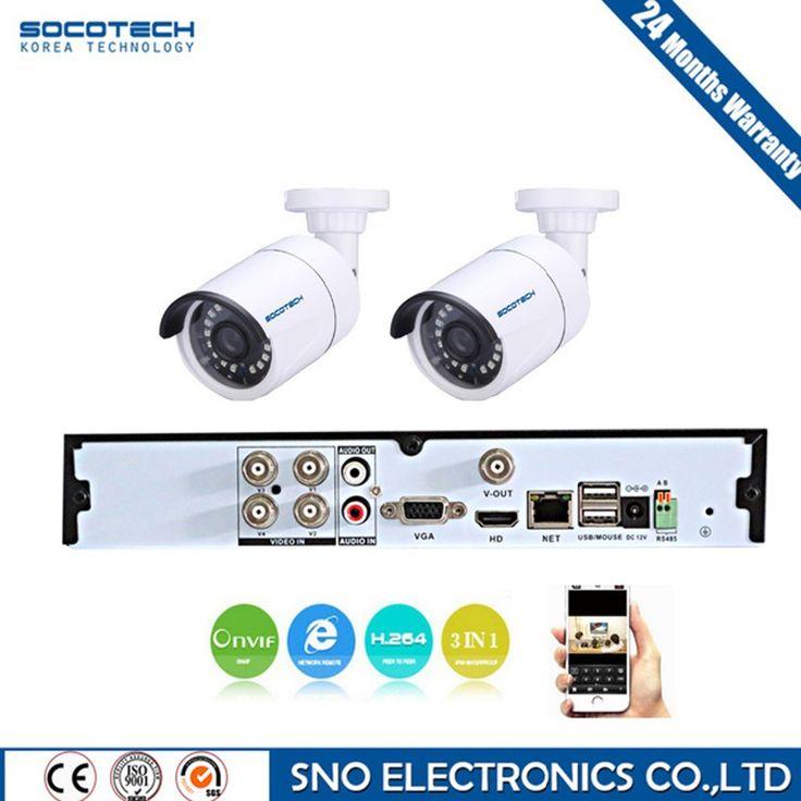 SOCOTECH 4CH CCTV System CCTV Kit Outdoor 2 Camera 1080P IR Camera Security System Home Surveillance System P2P DVR 4 Channel