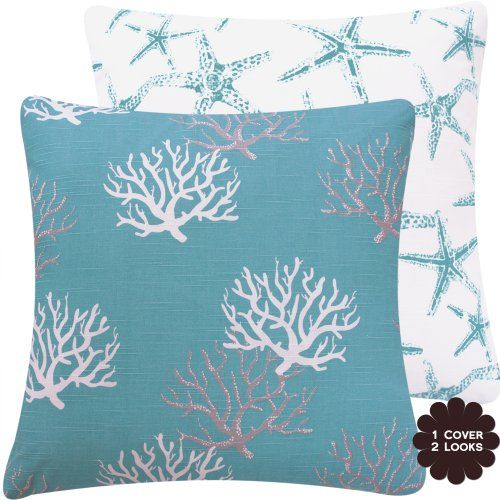 """Wonders of the Seas Turquoise Collection - 20"""" Square Couch / Bed Toss Pillow with Insert - Ocean, Sea, Coral and Star Fish - Turquoise Blue, White and Gray / Grey Hues - 1 Pillow, 2 Looks Chloe & Olive http://www.amazon.com/dp/B00CL3UCI4/ref=cm_sw_r_pi_dp_FNU7tb035V4EH"""
