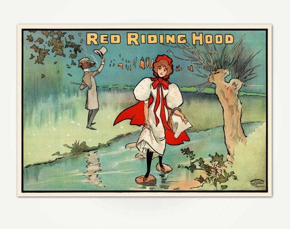 Red Riding Hood pantomima Victorian Vintage cartel impresión - arte de la pared de los niños - Vintage British Theater Poster