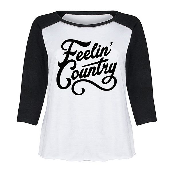 LC trendz Plus White & Black 'Feelin' Country' Raglan Tee ($27) ❤ liked on Polyvore featuring plus size women's fashion, plus size clothing, plus size tops, plus size t-shirts, plus size, raglan sleeve t shirt, raglan t shirt, black white top, white and black top and black and white tee