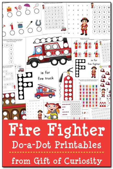 Fire Fighter Do-a-Dot Printables: 21 pages of fire fighter do-a-dot worksheets to help kids ages 2-6 work on one-to-one correspondence, shapes, colors, patterning, letters, and numbers. #firefighters #freeprintables #DoADot    Gift of Curiosity
