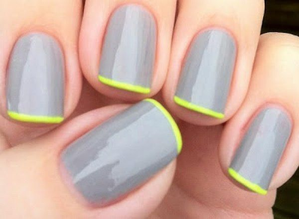 Glossy grey #manicure + yellow #neon french tips