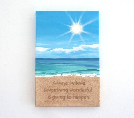 Beach Painting With Inspirational Quote Written In Sand 3d Wall