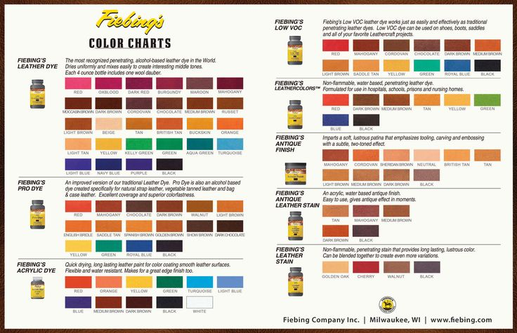 Fiebing S Leather Dye Color Chart Hunthankk