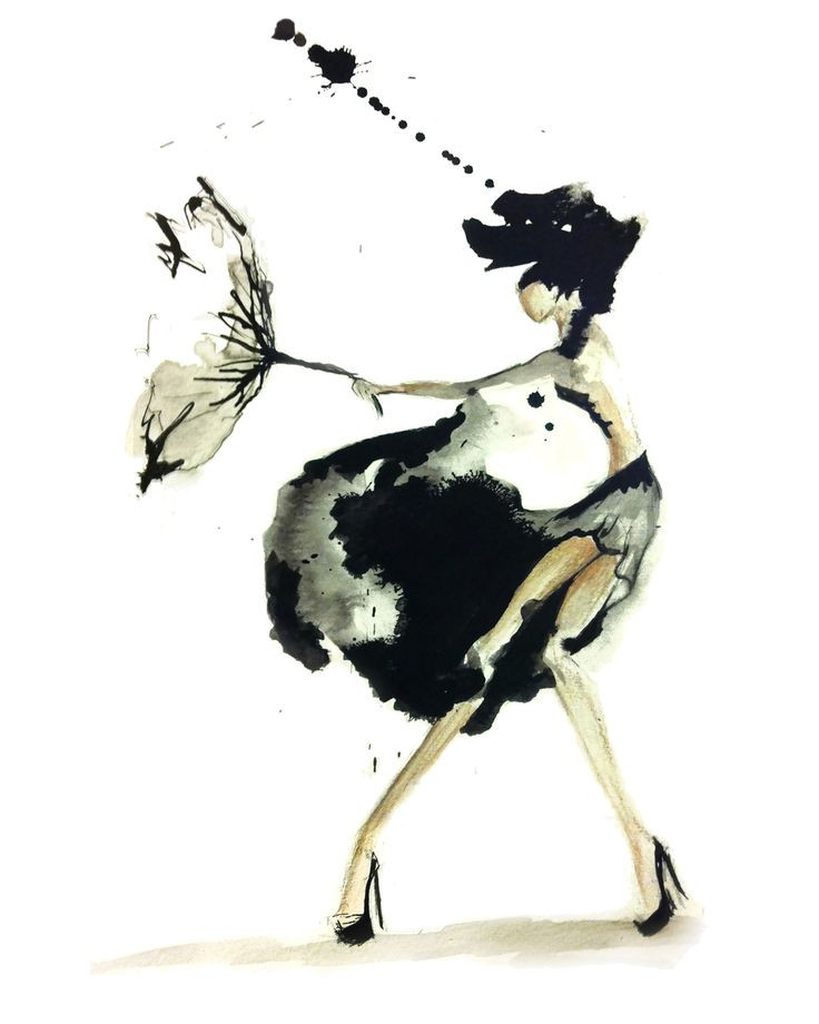 Fashion Illustration - elegance on a blustery day; monochrome drawing // Claire Ashley