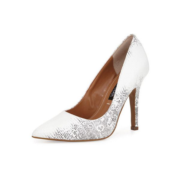 Neiman Marcus Aileen Pointed-Toe Leather Pump, Black/White (10,725 INR) ❤ liked on Polyvore featuring shoes, pumps, black and white pointed toe pumps, black and white shoes, black and white leather shoes, leather pumps and black and white pumps
