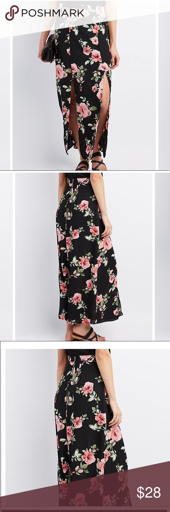 Floral double slit maxi skirt Super cute double slit maxi skirt! I ordered it and just isn't my size has a zipper in the back to zip up! Perfect for a girls night out!! Skirts Maxi