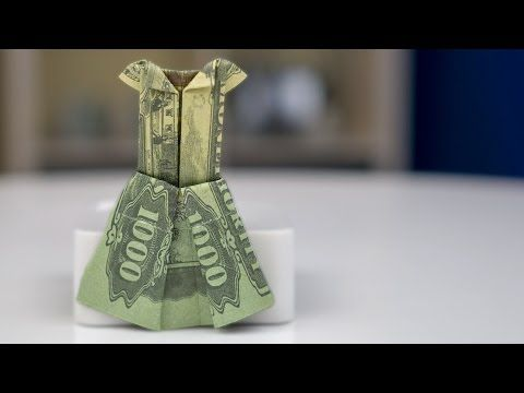 Money gift idea: Wedding dress, dollar bill origami tutorial - YouTube
