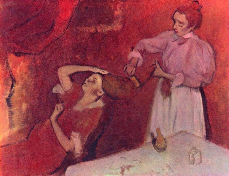 Edgar Germain Hilaire Degas.  Beim Haarkämmen. 3. Drittel 19. Jh., Leinwand, 114 × 146 cm. London, National Gallery. Gemälde unvollendet. Frankreich. Impressionismus.  KO 01266