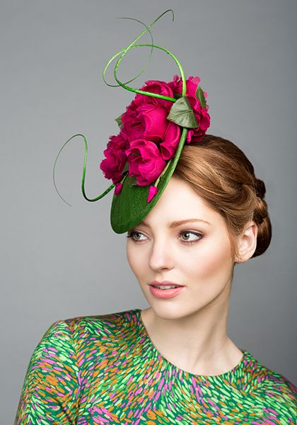 Rachel Trevor Morgan Millinery S/S 2015, R1580 Green mini disc with pink roses and quills