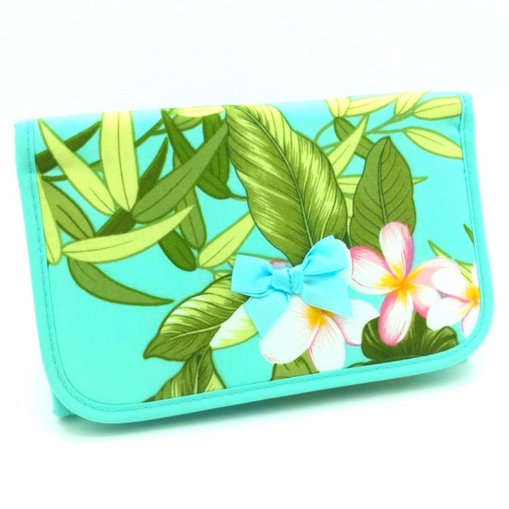 #Kain New #Kosmetik Case Mirror Thai Handmade Lady Bag Plumeria Green Mint Purse