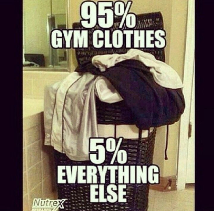 Gym humor. More like 70% gym clothes 30% work clothes but you get the point!