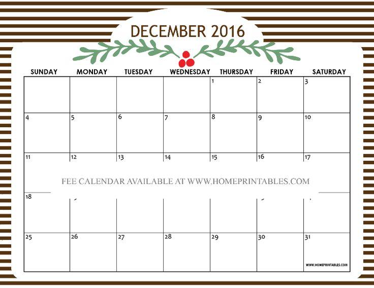 Free printable December 2016 calendar!                                                                                                                                                                                 More