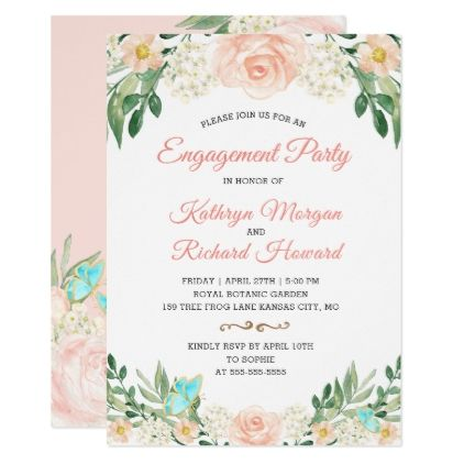 Elegant Blush Peach Floral Spring Engagement Party Card - invitations personalize custom special event invitation idea style party card cards