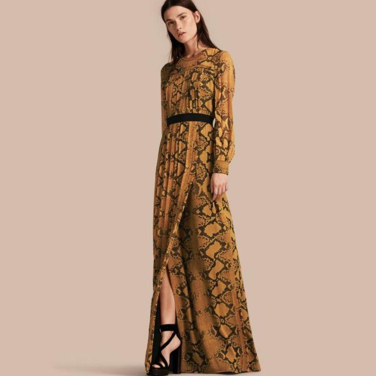 Floor-length Pleat Detail Python Print Silk Dress