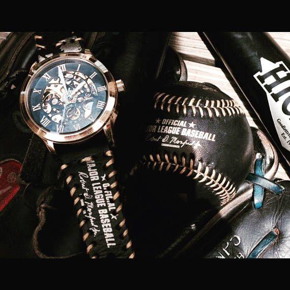 ✯Ω Gold Winner watch face with custom strap. Strap is made from the leath... #TE http://etsy.me/2p0Pw5z