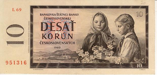 historical Banknote, Czech-o-Slovakia