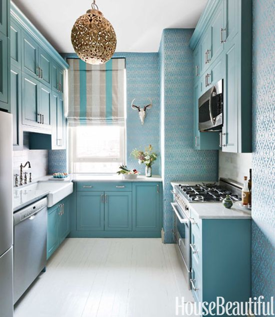 Fun New York City Kitchen In Turquoise By Sheila Bridges Design. Cabinets  Are Painted Benjamin