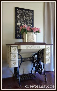 The paint technique really shows off the design in the wood base. {createinspire}: Singer Sewing Machine Table