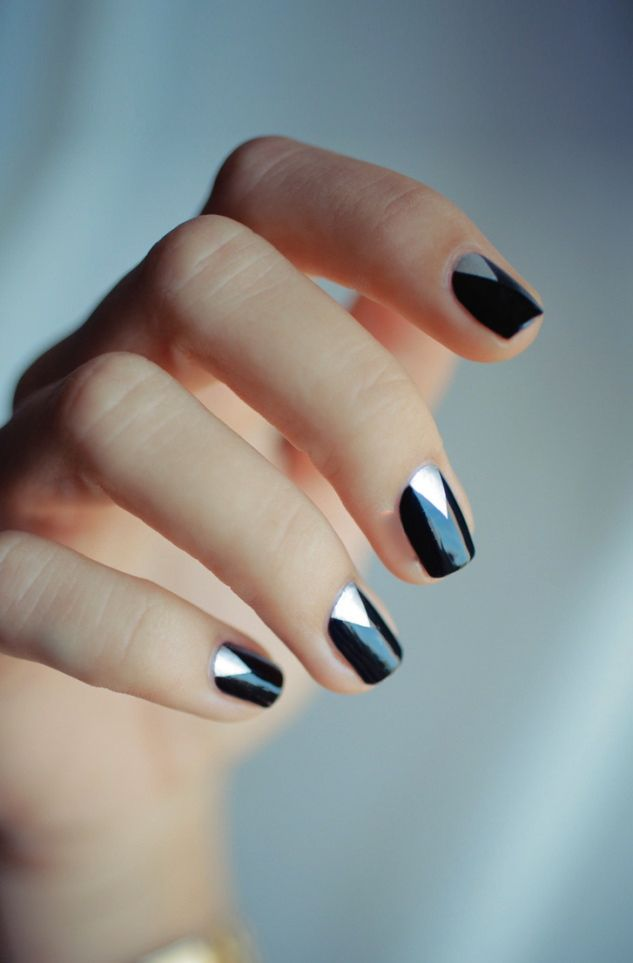 geometric silver + black nails