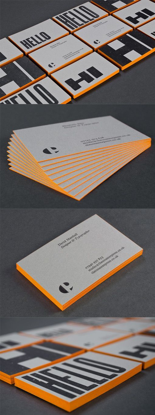 177 best business card inspiration images on pinterest brand bold typography on an edge painted letterpress business card for a designer reheart Images