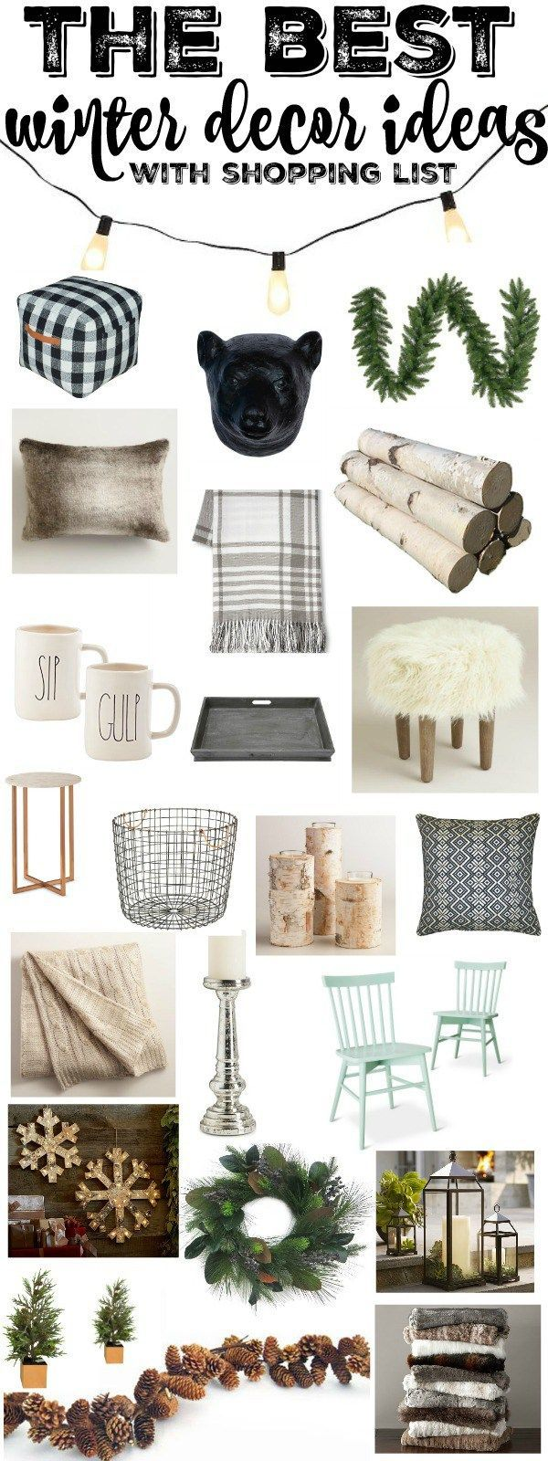 The best winter decor ideas with a complete shopping list so you can shop all of the winter decor items!
