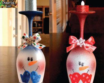 Christmas Wine Glass/ Candle Holder by TheKeeperofCheerios on Etsy