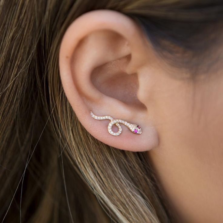 Buy rose gold pink sapphire diamond snake ear cuff online – Anne Sisteron