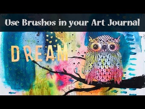Art Journal Page Tutorial with Brushos and a cute Owl Stamp from Rubber Dance