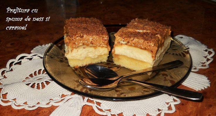 Reteta culinara Desert prajitura cu spuma de ness si caramel din categoria Prajituri. Cum sa faci Desert prajitura cu spuma de ness si caramel