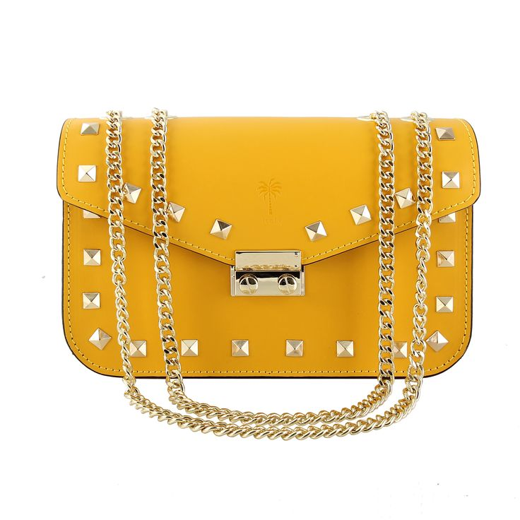 Jess Yellow Studded Italian leather Shoulder bag on sale now $270 plus Free shipping within Australia  www.marlafiji.com