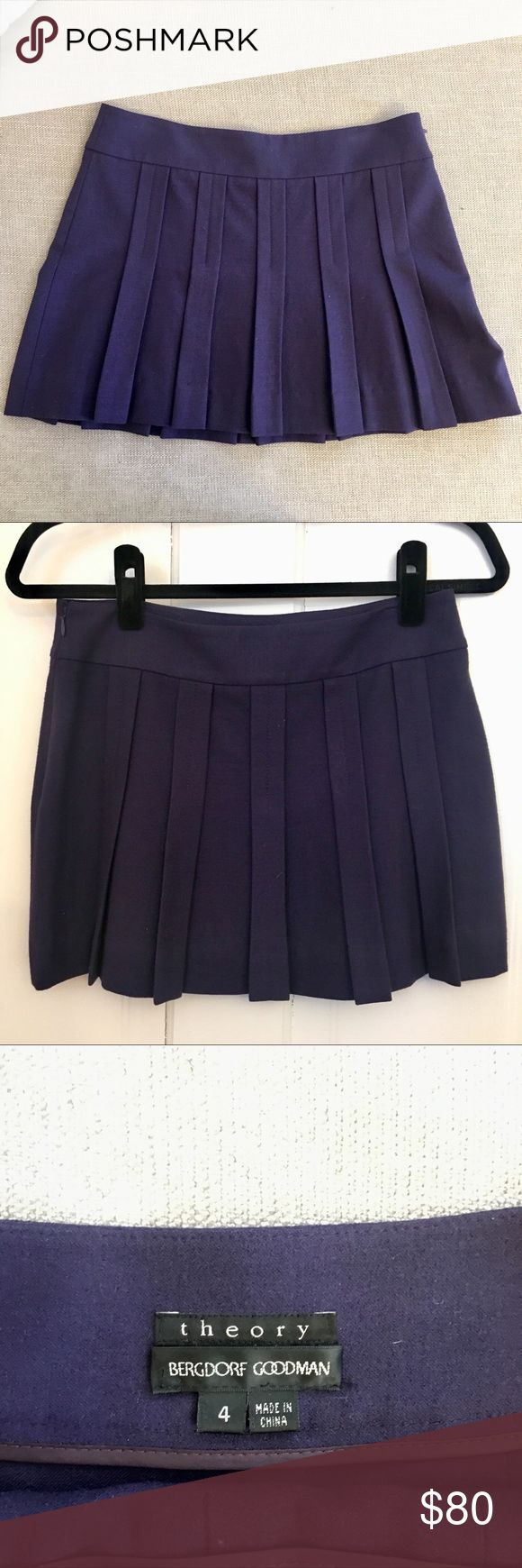 Theory Wool Pleated Skirt Theory wool pleated skirt in gorgeous deep plum color. Size 4. I cut out the interior material tag but the skirt is 100% wool. Excellent condition. Theory Skirts Mini