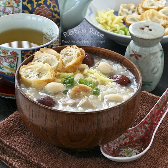 Turkey Rice Porridge with Peanuts and Scallops: never thought to add ...