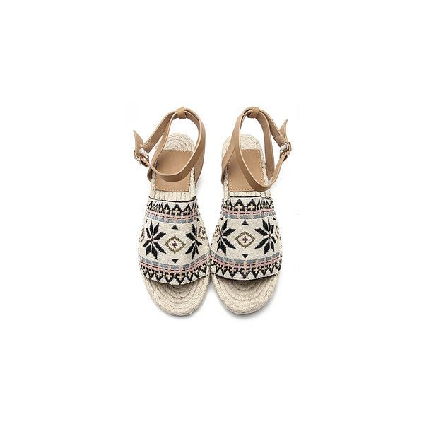 Yoins Totem Pattern Peep toe Flat Espadrilles with Buckle Fastening (735 EGP) ❤ liked on Polyvore featuring shoes, sandals, peep toe flat sandals, peeptoe shoes, peep-toe shoes, leather strap sandals and flat peep-toe shoes