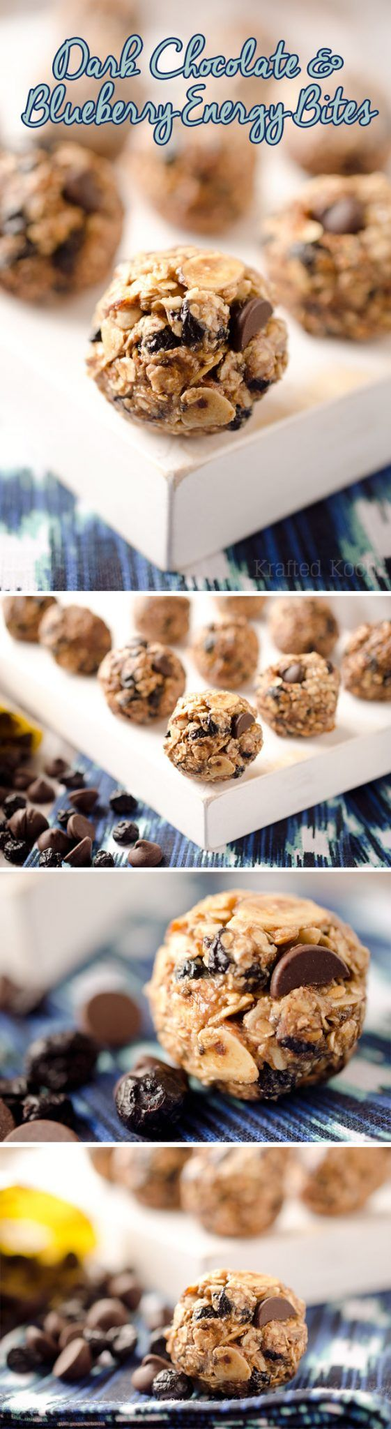 Dark Chocolate & Blueberry Energy Bites - Krafted Koch - A sweet little bite of dark chocolate and dried blueberries encompassed with whole grains and seeds for a protein packed snack!