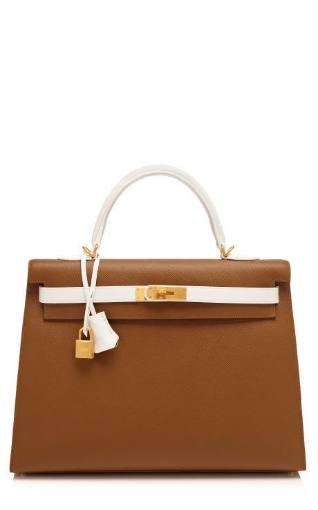 Hermes 35Cm Toundra & White Epsom Leather Sellier Kelly