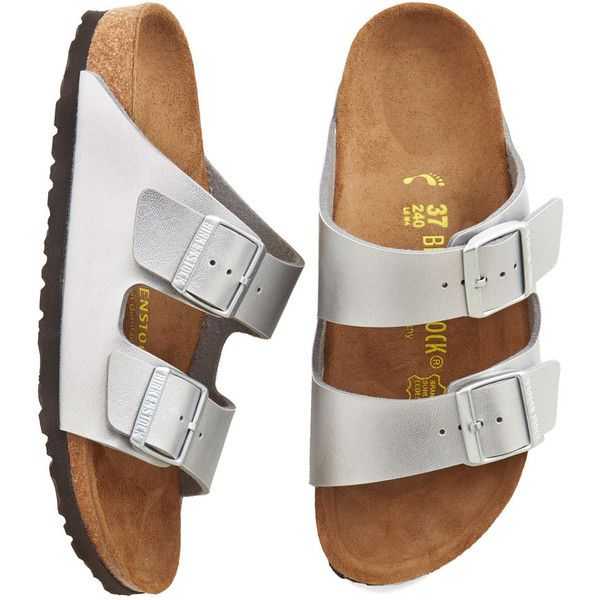 Festival Strappy Camper Sandal ($130) ❤ liked on Polyvore featuring shoes, sandals, slide, no-thong slide, silver, birkenstock footwear, birkenstock shoes, cork shoes, birkenstock sandals and hiking boots