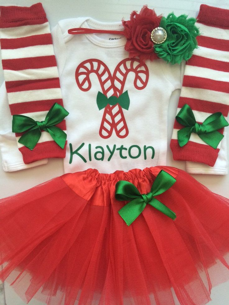 Baby Girl personalized Christmas outfit - Newborn and 3 month My first Christmas Outfit- 4 piece newborn outfit (54.00 USD) by AboutASprout