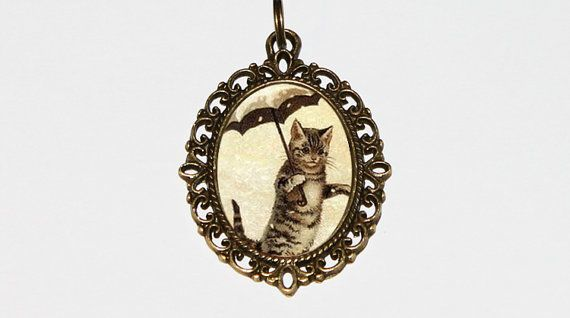 Umbrella Cat Necklace Cat Jewelry Oval Pendant by TheGoblinCave