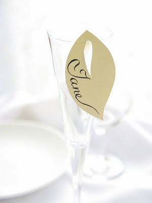 20 place cards leaf spring leaves decor for wine glass by naboko