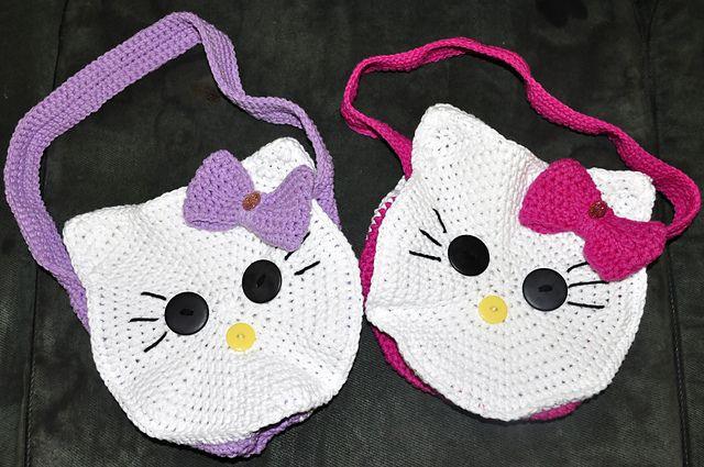 crochet Hello Kitty purses: Kitty Faces, Crochet Bags, Hello Kitty Purse, Faces Bags, Bags Patterns, Bag Patterns, Round Kitty, Hello Kitty Bag, Kitty Bags
