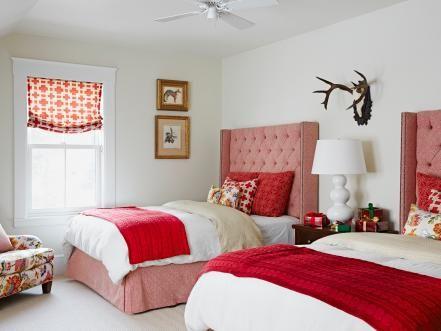 this redandwhite room featured in hgtv magazine nods to classic cabin