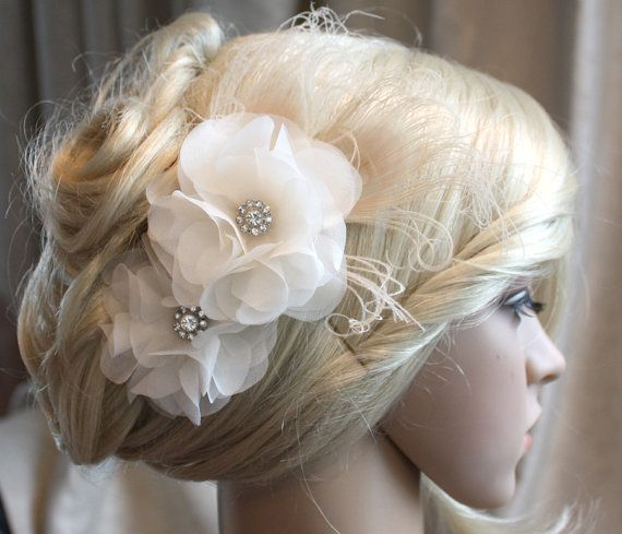 Silk organza flowers hair clip for wedding reception bridal party with Peacock Eye wedding hair piece - 2 ivory peonies by wearableartz. Explore more products on http://wearableartz.etsy.com