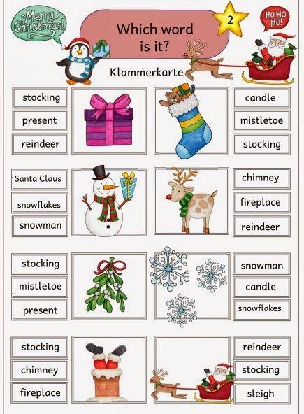 """Klammerkarten zum Üben des Wortschatzes Zum Üben und Festigen des englischen Wortschatzes zum Thema """"Christmas"""" habe ich für die Freiarbei..."""