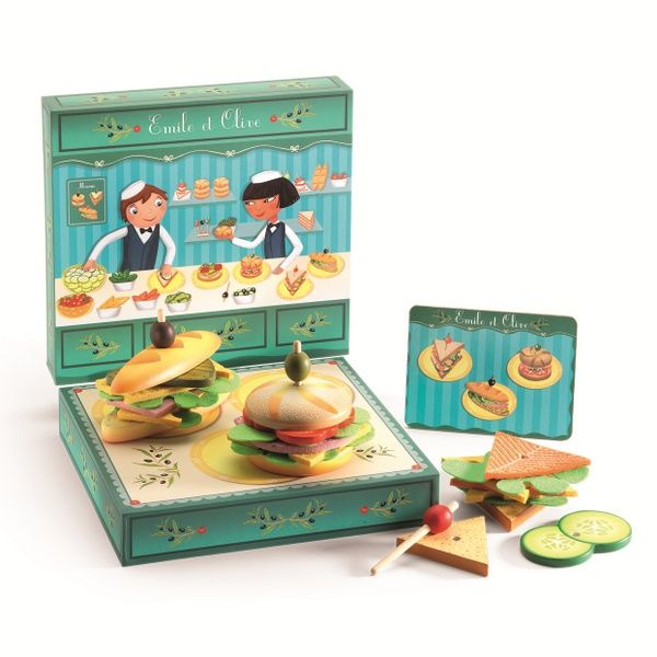 Pretend play - Make your sandwiches with Emile and Olive by DjecoLes Sandwiches, Olive'S Sandwiches, Euro Sandwiches, Sandwiches D Emil, Pretend Play, Djeco 22 5, Sandwiches Emil