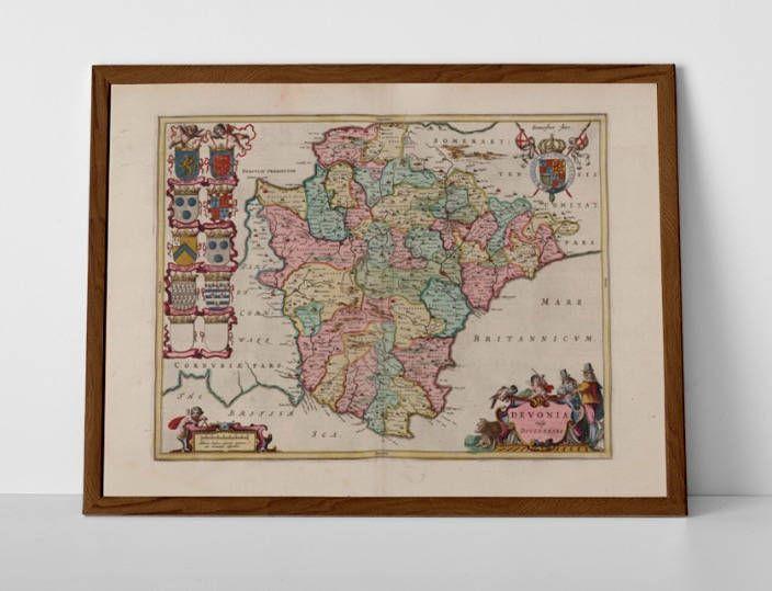 Antique Devon Map, originally created by Willem Janszoon Blaeu, now available as a 'museum quality' Gift print.  #DevonPoster #EnglishRivieraMap #homedecor #travelposter #interiordesign #hahnemuhle #MapofDevonshire #oldmap #devon #OldMapofExeter #OldMapofTorridge #OldMapTotnes #PlymouthMap #SouthHams #Teignbridge #TorbayOldMap #TotnesPound #WestDevon