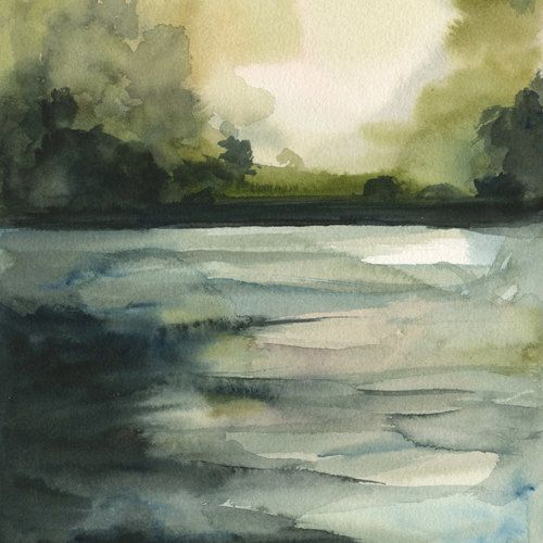 In the Water- Archival print, landscape. , via Etsy.: Paintings Art, Watercolor Art, Watercolor Paintings, Art Paintings, Water Color, Watercolor Landscape, Amber Alexander, Archives Prints, Watercolor Prints